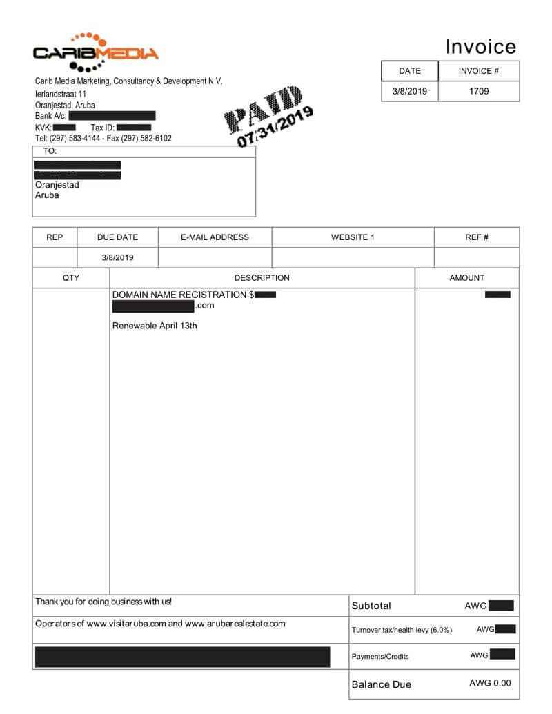caribmedia-aruba-example-digital-copy-invoice-receipt-green-efforts